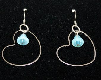 Silver Heart Hope Bluebell Earrings