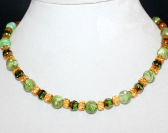 Green Agate and Yellow Crystal Beaded Necklace