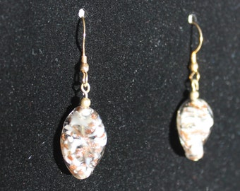 Gold and White Twisted Art Glass Earrings