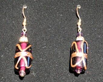 Purple and Gold Vintage Barrel Bead Earrings