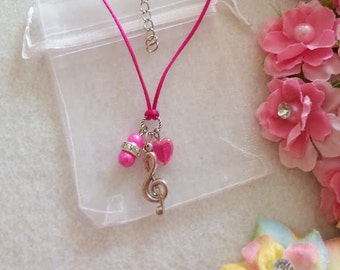 10  Treble Clef Musical Note Necklaces Party favors