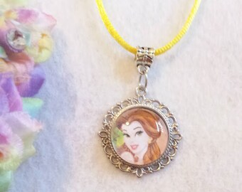 10 Princess Belle, the Beauty and the Beast Necklaces Party Favors.