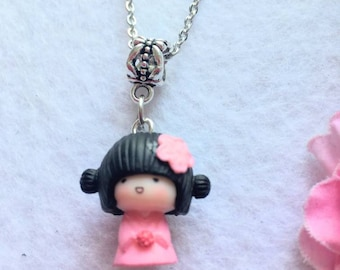 Chinese Girl Necklace - Pink