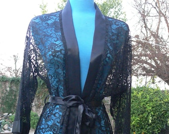 black long lace robe size small