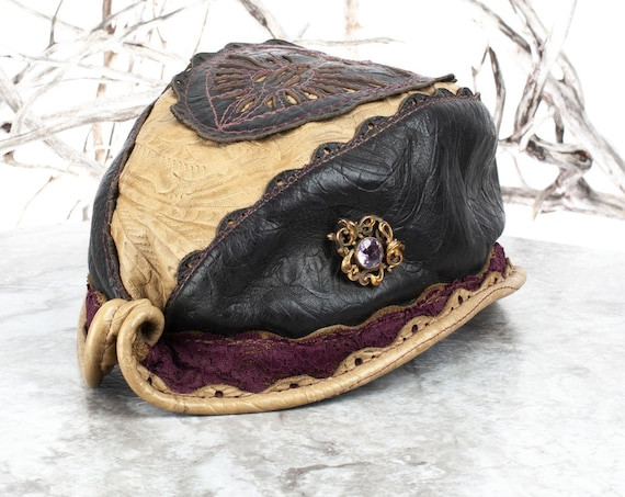 "Elven Leather Hat | Reveille Hat | Filigree Leather | Size S/M | 21"" Head 