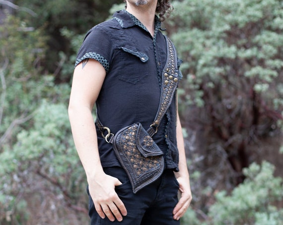 Corvidae Leather Sling Bag | Shoulder Bag | Pocket Belt | Hip Belt | Black | Bronze | Burning Man | Bandolier | Utility Belt | Custom Made