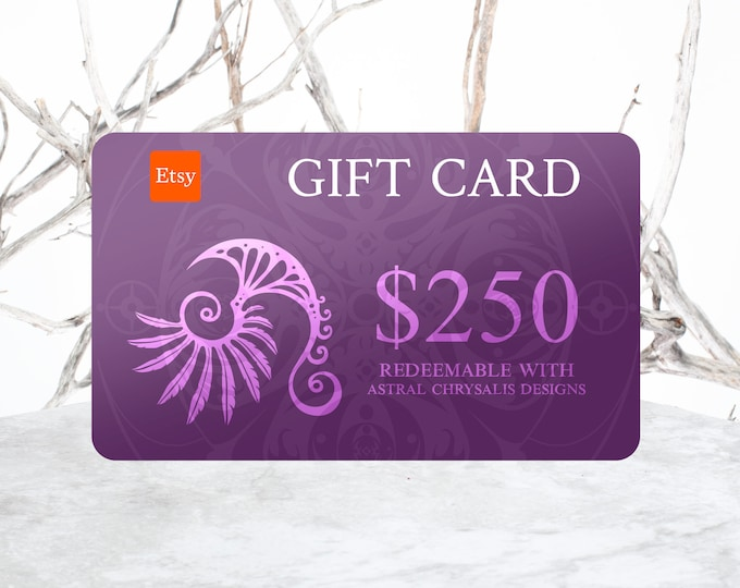 Gift Certificate, 250 Dollar Gift Voucher, Last Minute Gifts, Gift Card, Digital Gift Card + Personalized Leather Keepsake, Stocking Stuffer