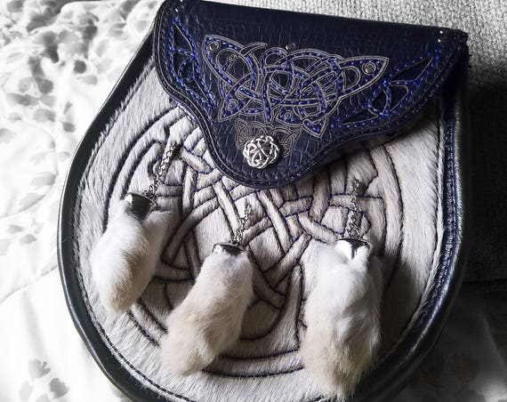 CUSTOM Made to ORDER | Celtic Leather Sporran | Scottish Pouch | Bag | Kilt | Pocket | Rennaissance Faire | Engraved Cow Hair | Rabbit Feet