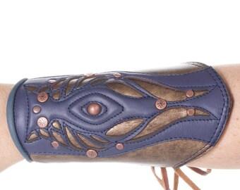 Tyton Leather Bracer | Single Bracer | Purple, Bronze & Slate Blue | Leather Cuff | Brass | Copper | Ren Fair | Elven | Adjustable Size S/M