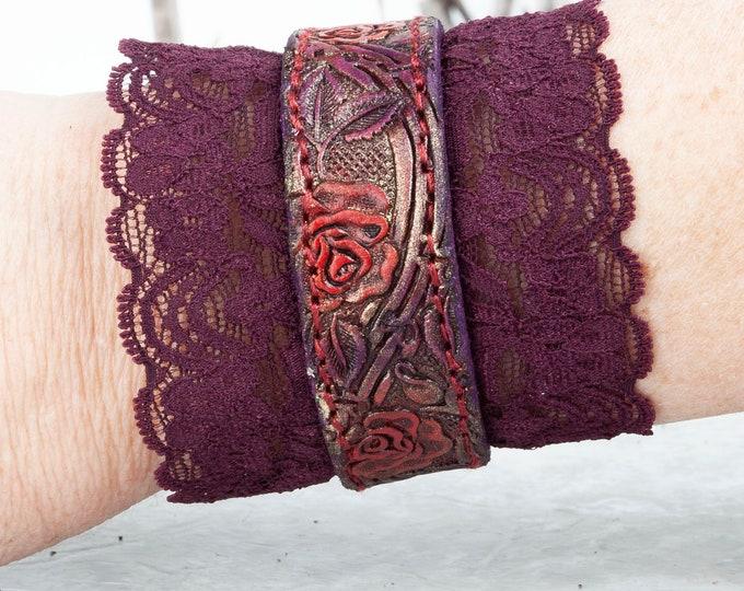"Leather Bracelet, Tooled Leather, Cuff Bracelet, Leather Wristband, Leather Cuff, 6.5"" Wrist, Bracelet Femme, Arm Cuff, Boho Bracelet, Elven"