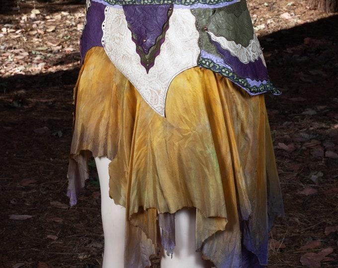 Leather Skirt | Starfire Skirt Belt | Hand Dyed Silk | Lace | Copper | Brass | Faerie | Pixie | Elven | Steampunk | Festival Belt | S/M