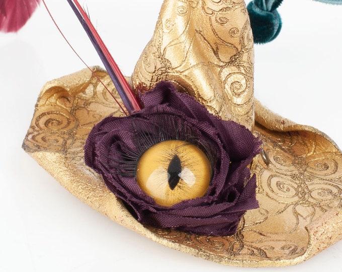 Witch Hat, Fascinator, Leather Barrette, Ornament, Leather Witch Hat, Witch, Witches Hat, Pagan, Witch Altar, Pagan Altar, Pagan Decor, Yule