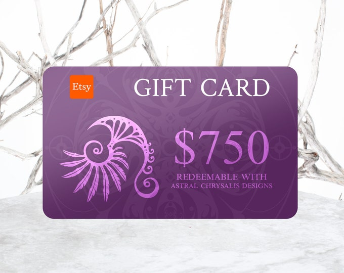 Gift Certificate, 750 Dollar Gift Voucher, Last Minute Gifts, Gift Card, Digital Gift Card + Personalized Leather Keepsake, Stocking Stuffer