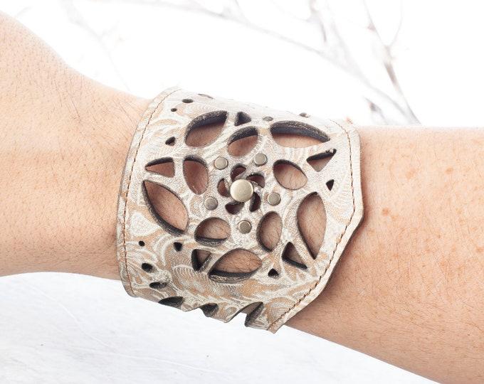 """Leather Bracelet, Arm Cuff, Leather Wristlet, Leather Wristband, Filigree Bracelet, Fits an 8"""" Wrist, Unisex Bracelet, Laser Cut Cuff, Cream"""