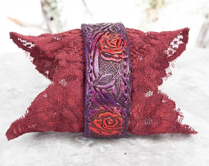 Leather Bracelet, Tooled Leather, Cuff Bracelet, Leather Wristband, Leather Cuff, 6.25 Wrist, Bracelet Femme, Arm Cuff, Boho Bracelet, Elven