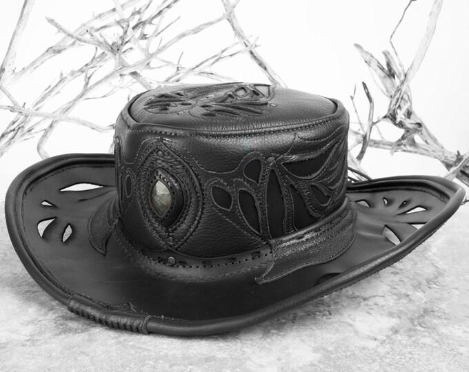 Cowboy Hat, Pirate Hat, Tricorn, Bucaneer, Leather Hat, Pirate, Pirate Hat, Festival Hat, Leather Tricorn, Steampunk Hat, Tricorn Hat, Hat
