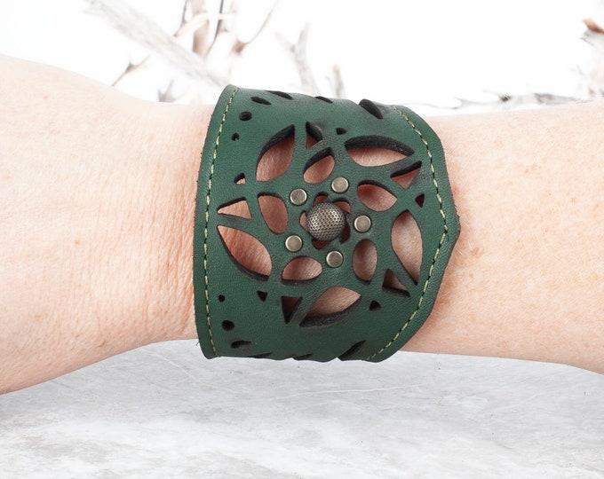 "Leather Bracelet, Laser Cut Leather, Leather Arm Cuff, Leather Wristband, Laser Cut Leather Cuff, 7"" Wrist, Laser Cut Leather Bracelet, Cuff"
