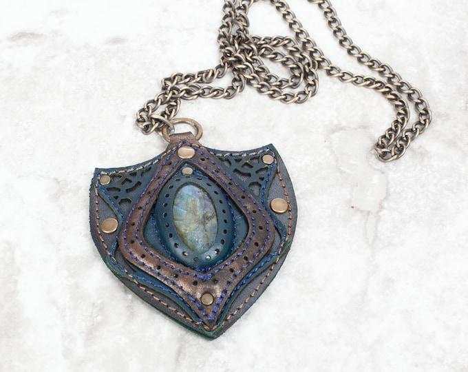 Labradorite Pendant, Gemstone Necklace, Leather Pendant, Leather Jewelry, Amulet, Crystal Pendant, Valentines, Leather Necklace, Gemstone