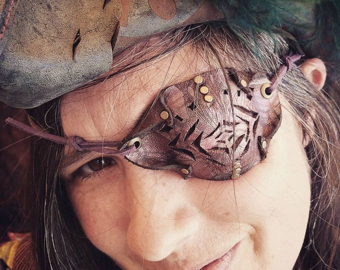 Eye Patch, Leather Eye Patch, Eyepatch, Filigree Eyepatch, U Can See Whilst Wearing, Pirate Costume, Airbrushed Color, Made 2 Order, Pirate