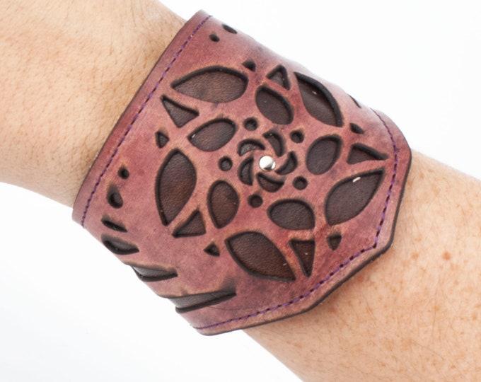 "Leather, Bracelet, Arm Cuff, Leather Wristlet, Leather Wristband, Leather Bracelet, 8"" Wrist, Cuff Bracelet, Laser Cut Cuff, Cuff, Flower"