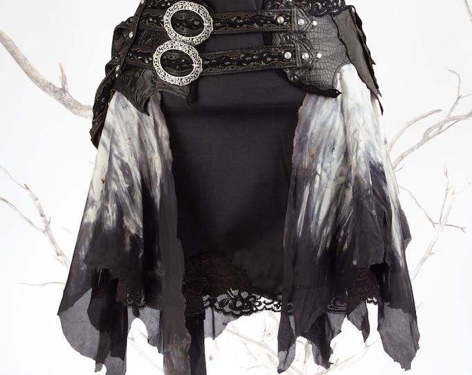 LIMITED Ed., Skirt Belt, Silk Skirt, Leather Hip Belt, Hip belt, XS-2XL, Leather Skirt, Pixie Skirt, Steampunk Skirt, Festival Skirt, Goth