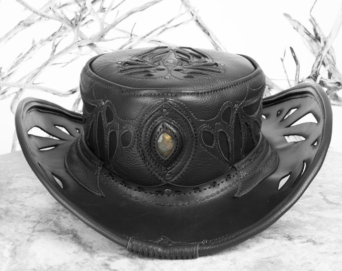 Cowboy Hat, Leather Pirate Hat, Tricorn, Captain Hat, Pirate, Pirates, Festival Hat, Burning Man, Steampunk Hat, Tricorn Hat, Western Wear