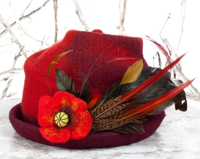 "Wool, Felt, Wool Felt Hat, Felt Flowers, Upcycled Hat, Wool Felt, Felted, Felt Hat, Felted Hat, Felted Art, Wet Felting, Hat, 21.5"" head"