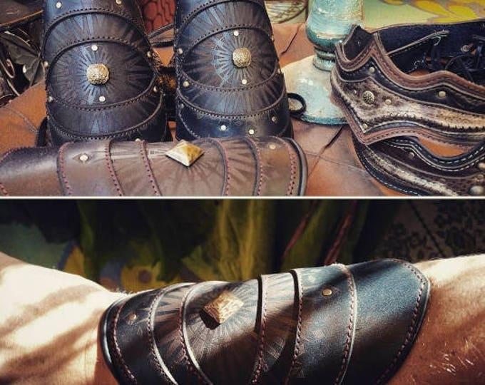 Leather, Leather Bracers, Bracers, Cuffs, Arm Cuffs, Burning Man, Warrior, Fire Dance, Adjustable Sizing, Elven, Arm Bracers, Cuff Bracelet