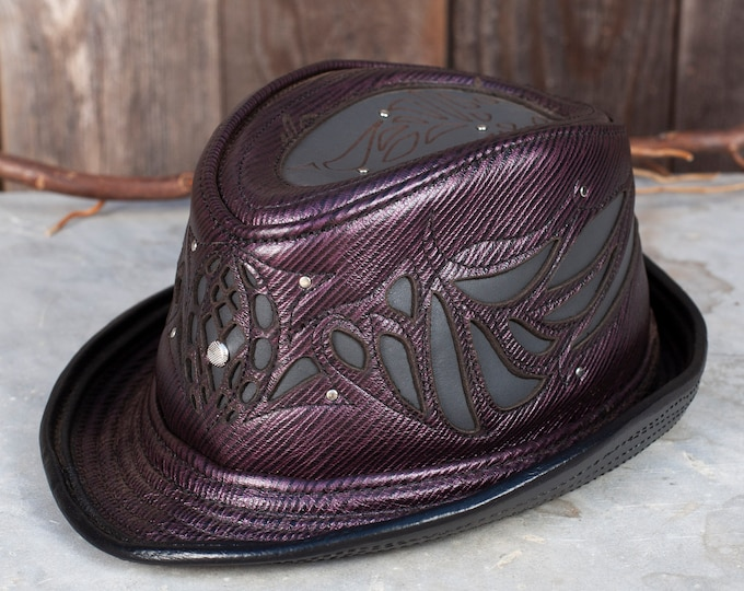 "Leather, Leather Hat, Hat, Fedora, 23.5"" Head, Fedora Hat, Trilby, Trilby Fedora, Burning Man, Steampunk, Steampunk Hat, Great Gatsby, Hats"