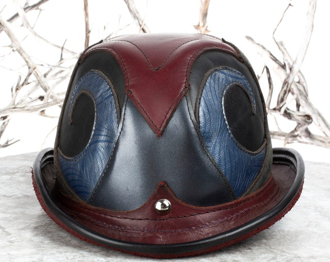 "Leather, Leather Bowler, 23"" Head, Steampunk Hat, Charlie Chaplin, Burning Man, Bowler Hat, Derby Hat, Steampunk Bowler Hat, Burning Man Hat"