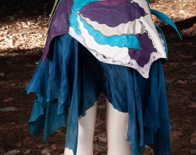 Leather Skirt | Starfire Skirt Belt | Hand Dyed Silk | Lace | Silver | Faerie | Pixie | Elven | Mermaid | Festival Belt | Steampunk | M/L