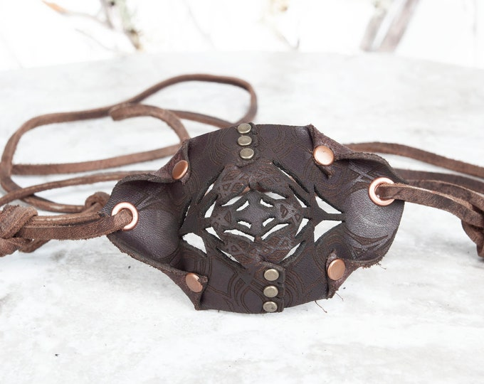Dark Brown Eyepatch, Leather Eye Patch, Filigree Eyepatch, U CAN SEE Whilst Wearing!, Pirate Costume, Steampunk, Steampunk Costume, Pirate