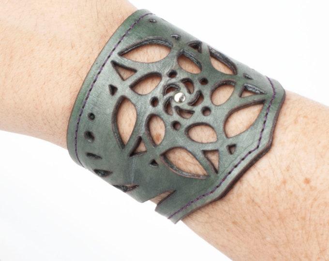 "Leather Bracelet, Arm Cuff, Leather Wristlet, Leather Wristband, Filigree Bracelet, Fits an 8"" Wrist, Unisex Bracelet, Laser Cut Cuff, Elven"