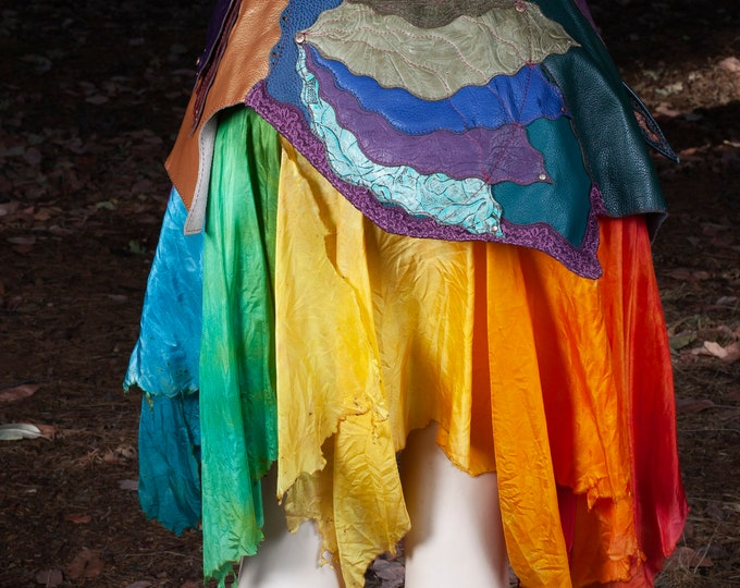 Leather Skirt Belt, Hand Dyed Silk, Burned Silk Skirt, Silk Fairy Skirt, Silk Pixie Skirt, Elven Couture, Rainbow Dyed Silk, Steampunk Fairy