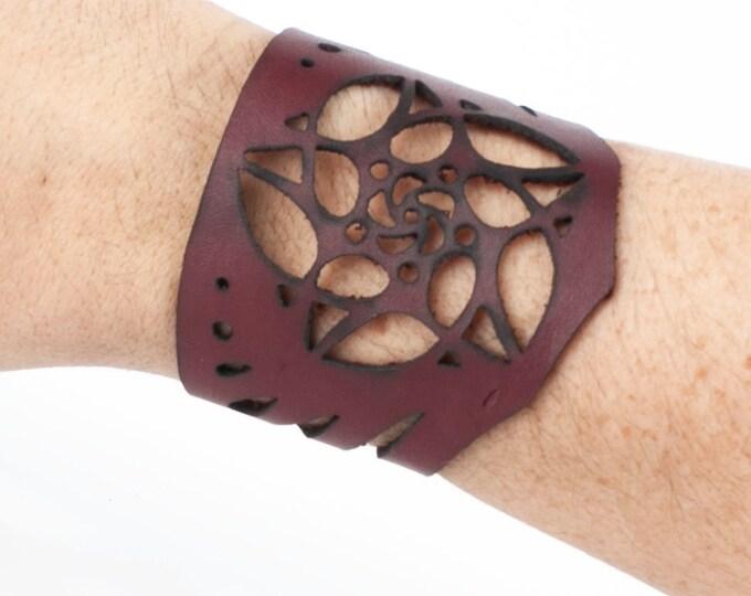 "Leather, Bracelet, Arm Cuff, Leather Wristlet, Leather Wristband, Leather Bracelet, 6 3/4"" Wrist, Cuff Bracelet, Laser Cut Cuff, Minimalist"