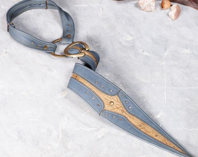 Leather Tie, Gladius, Slate Blue & Olive Floral, OS, Leather Tie Collar, Unisex Tie, Steampunk Tie, Men's Fashion, Neck Tie, Necktie, Tie