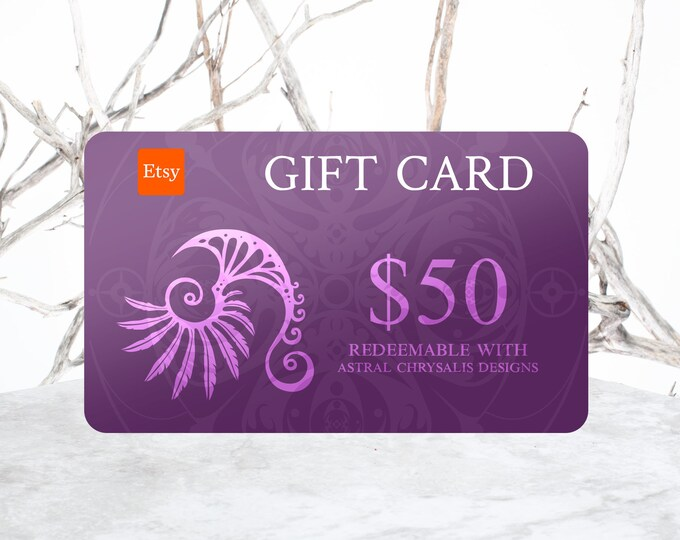 Gift Certificate, 50 Dollar Gift Voucher,  Last Minute Gifts, Gift Card, Digital Gift Card + Personalized Leather Keepsake, Stocking Stuffer