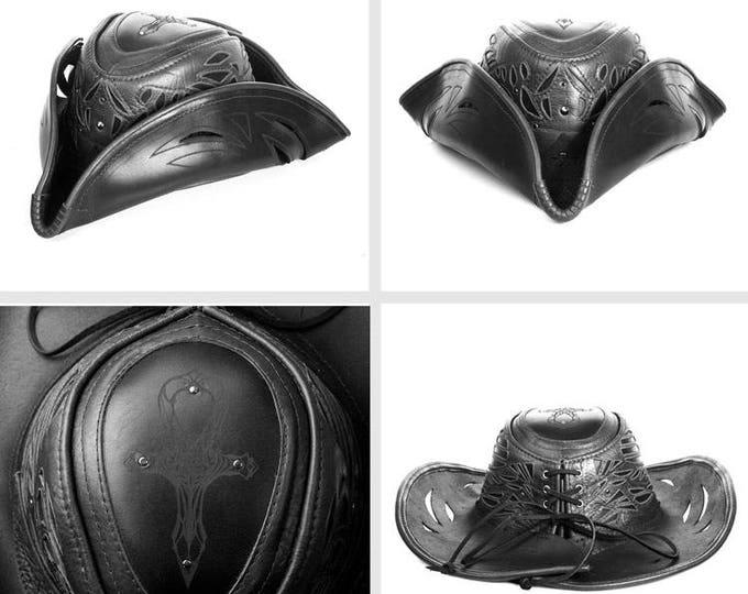 Leather Cowboy Hat, Pirate Hat, Tricorn, Adjustable Size, Leather Hat, Pirate, Womens Pirate Hat, Black Hat, Festival Hat, Leather Tricorn