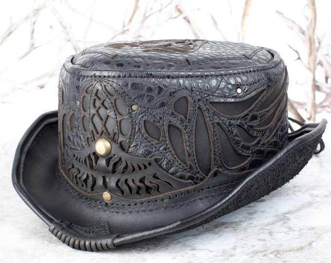 Leather, Hat, Top Hat, Short Top Hat, Tophat, Hats, Steampunk, Burning Man Hat, Festival, Festival Wear, Steampunk Hat, Leather Hats, 1920s