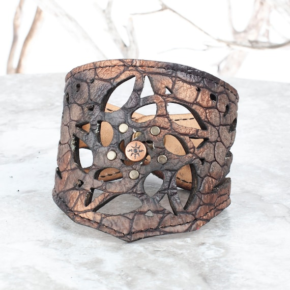 "Leather Bracelet, Arm Cuff, Leather Wristlet, Leather Wristband, Filigree Bracelet, 8"" Wrist, Unisex Bracelet, Laser Cut Cuff, Dragon Cuff"