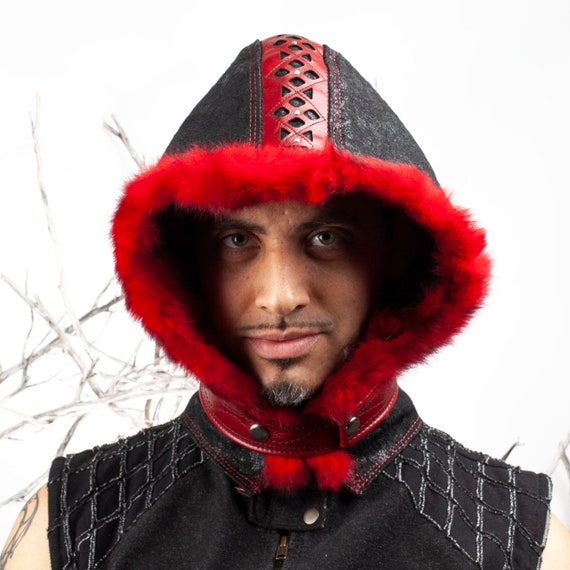 "Leather Hood, Medieval Hood, Rabbit Fur Hood, 22-23"" Head, Cosplay, Steampunk, Burning Man Hood, Little Red Riding Hood, Leather Hoodie"