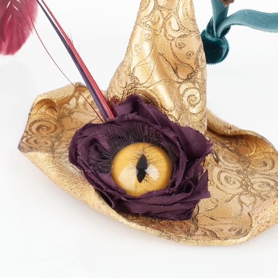 Handsewn Ornament, Leather Witch Hat, Witch Hat Ornament, Christmas Ornament, Solstice Tree, Eyeball Ornament, Yule Decorations, Yuletide