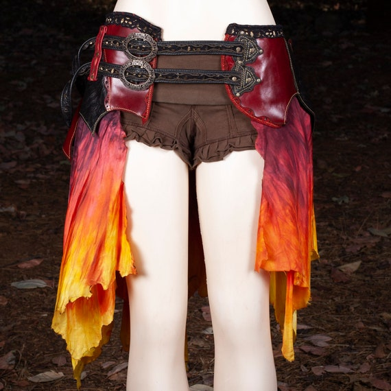 Leather Skirt | Starfire Skirt Belt | Hand Dyed Silk | Lace | Brass | Fire Colors | Witchy | Pirate Skirt | Leather Belt | Steampunk | M/L