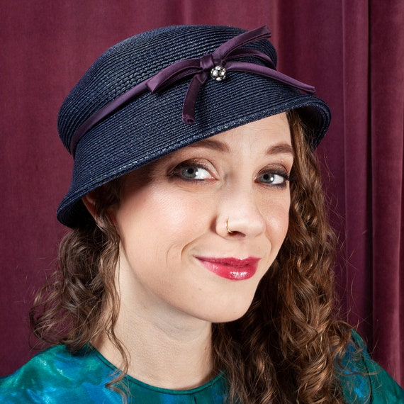 1930s, Adorable Navy Blue Woven Hat, 30s, Vintage