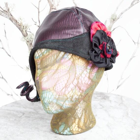 """Cloche, Leather Cloche Hat, Cloche Hat, Chapeau Cloche, 1920's Cloche Hats, Chapeau, Chapeau Femme, 21-21.5"""" , Small, Steampunk Hat, Hat"""