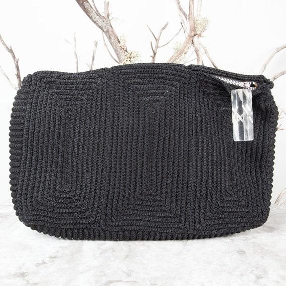 1940s, Vintage Crochet Purse, Lucite, Black Croche