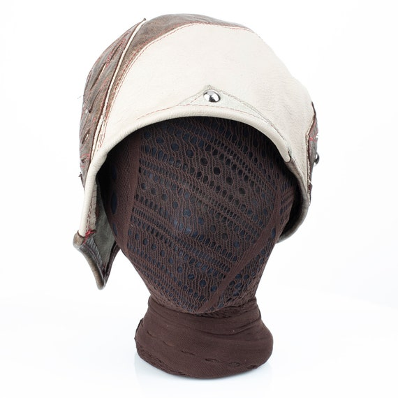 """Leather Cloche, Aviator, Bomber, 1920's Style, Aerium, 23-23.5"""" Head, M/L, Steampunk, Great Gatsby, Fly Girls, Elven, Asymmetrical, IN STOCK"""