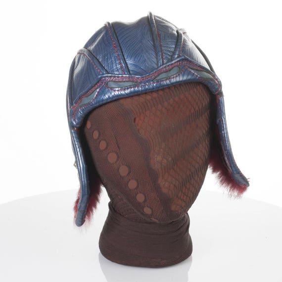 "Leather Aviator Hat | Edulis Bomber | Elven Bomber | 21"" Head | Size S | Royal Blue & Burgundy | Fully Lined | Rabbit Fur | Faerie Hat"