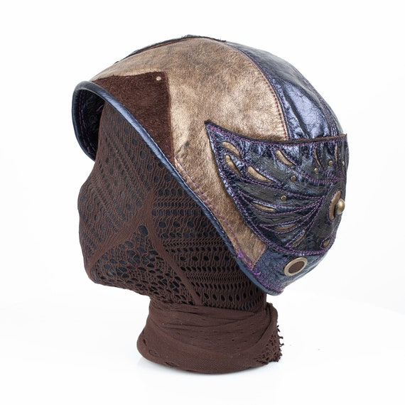 """Leather Cloche, Aviator, Bomber, 1920's Style, Aerium, 23"""" Head 