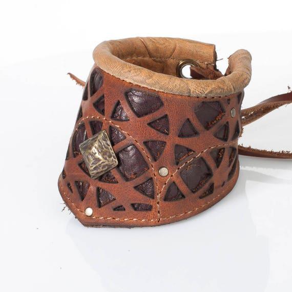 "Tan Brown Leather Corvid Cuff | Men's Cuff | Women's Bracelet | Filigree | Tarnished Brass Hardware | Adjustable Sizing M/L 8.5"" - 11.5"""